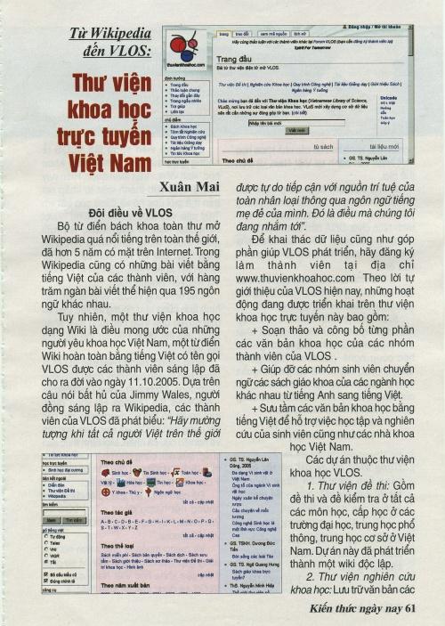 Tạp chí Kiến thức ngày nay, số 580, 2006, trang 61