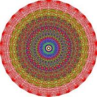 Hệ thống nghiệm của E8 bao gồm 240 vectơ theo không gian 8 chiều. Những vecto này là các đỉnh (góc) của vật thể 8 chiều gọi là Gosset polytope 421. Vào thập niên 60, Peter McMullen đã vẽ (bằng tay) một đại diện 2 chiều của Gosset polytope 421. Ảnh trên được tạo ra bằng máy vi tính, dựa trên hình vẽ của McMullen. (Ảnh: Được cung cấp bởi Viện Toán Học Hoa Kỳ)